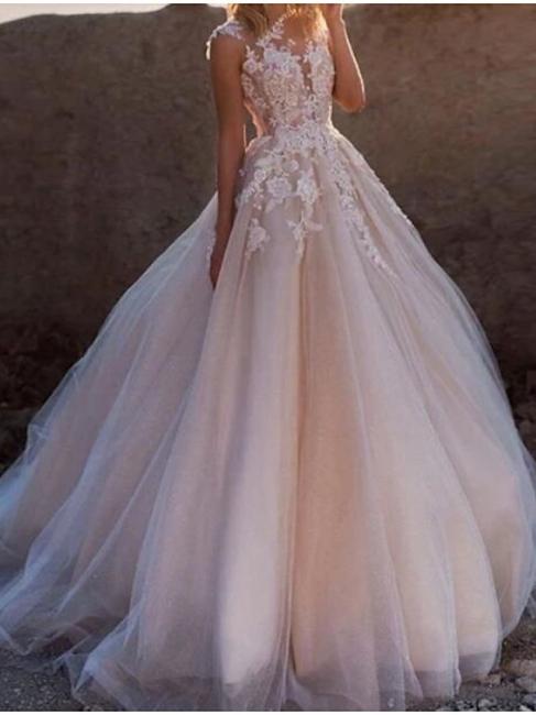 Blush Pink Wedding Dresses A Line | Vintage wedding dress with lace