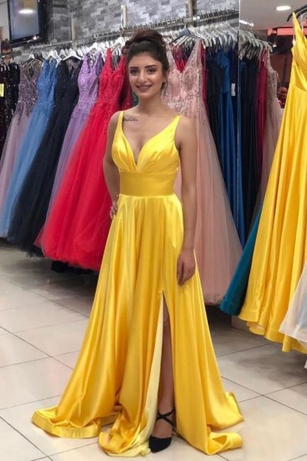 Evening dresses plain yellow | Long evening dress with V neckline