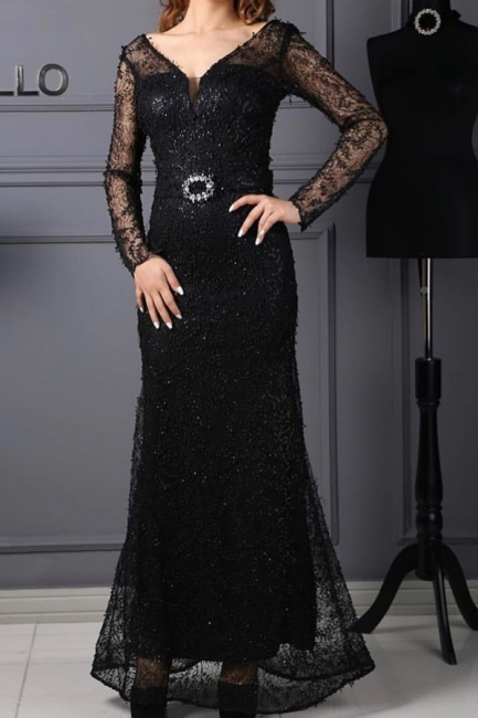 Evening dresses long black | Lace prom dresses with glitter
