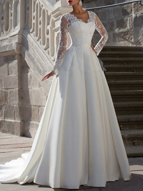 Elegant wedding dresses with sleeves | A line wedding dresses lace