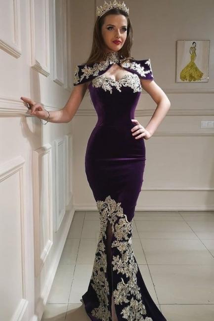 Purpur Abendkleider Lang Günstig | Velvet Abiballkleider Online