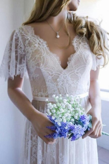 Designer Wedding Dress Lace Simple With Short Sleeves Wedding Dresses Online