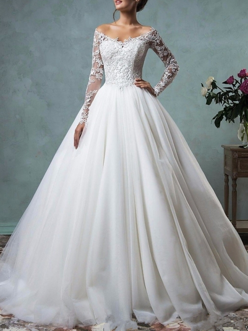 Designer wedding dresses A line | Lace wedding dress with sleeves