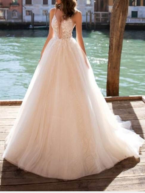 Elegant wedding dresses A line | Wedding dresses V neckline