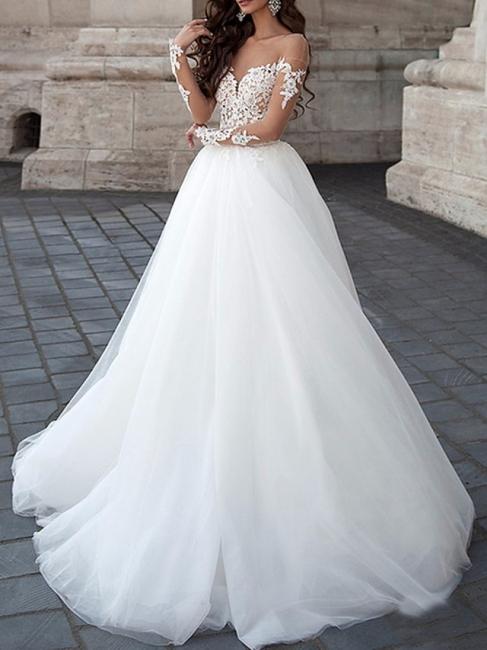 Weiß Brautkleider A Linie | Spitze Hochzeitskleider mit Ärmel