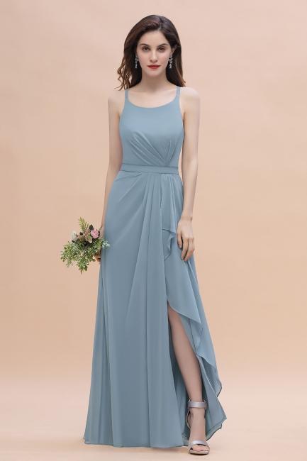Stahlblaue Brautjungfernkleider Günstig | Brautjungfernkleid Lang Chiffon