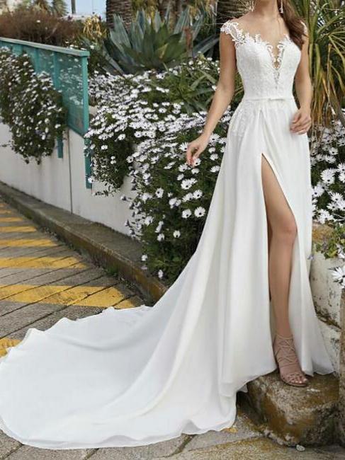Fashion Brautkleider Mit Spitze | Chiffon Hochzeitskleider Etuikleider
