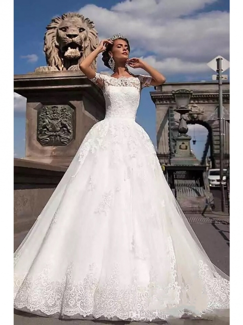 Beautiful wedding dresses short sleeves | Bridal A line with lace