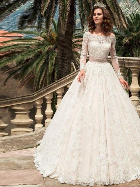 Designer Brautkleider A Linie | Hochzeitskleider Spitzeärmel