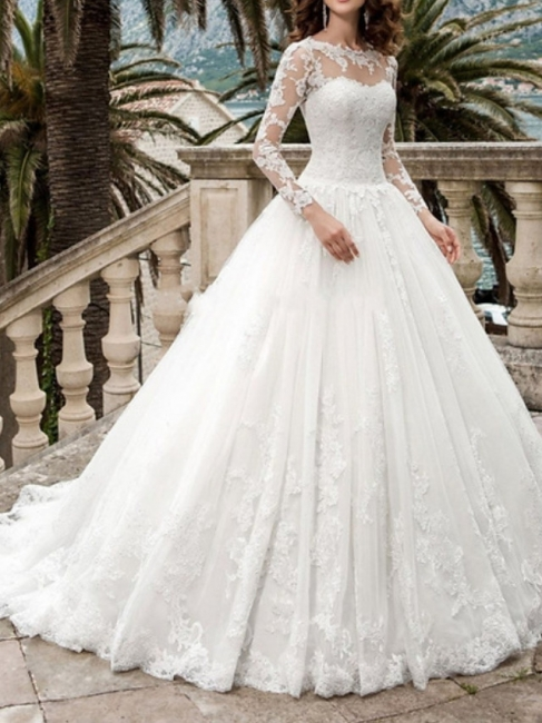 Beautiful wedding dresses A line | Wedding dresses with lace sleeves