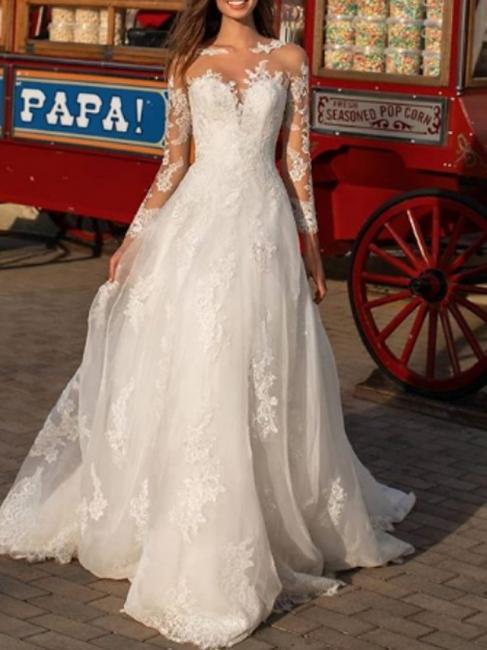 Elegante Hochzeitskleid A linie | Spitze Brautkleider mit Ärmel