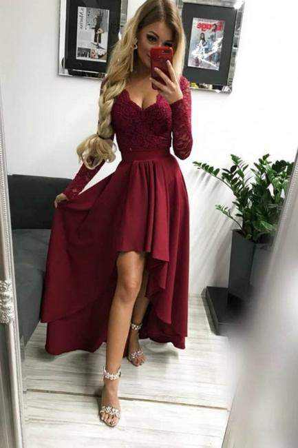 Burgundy prom dresses | Festive dresses with sleeves