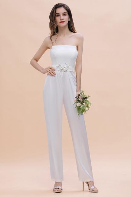 Simple bridesmaid dresses jumpsuit | Bridesmaid dress long white