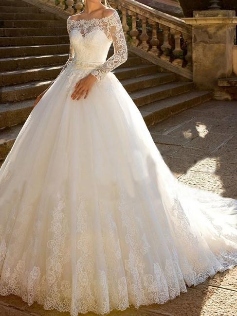 Luxus Brautkleider mit Ärmel | A Linie Hochzeitskleid Spitze