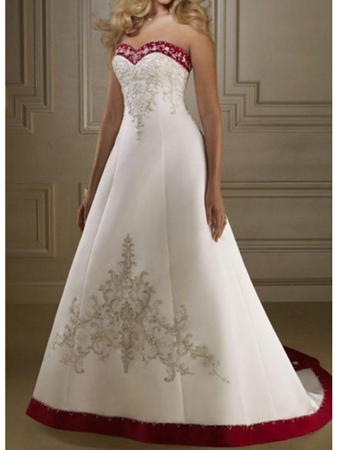 Wedding dresses burgundy white | A line wedding dresses online