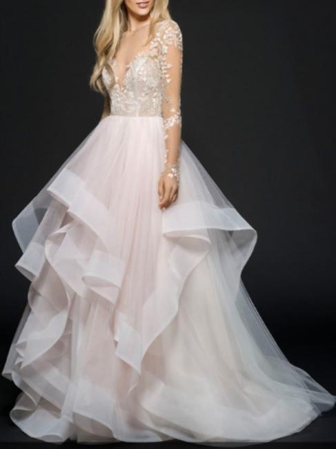 Designer Brautkleider mit Spitzerärmel | Tülle Hochzeitskleid A Linie