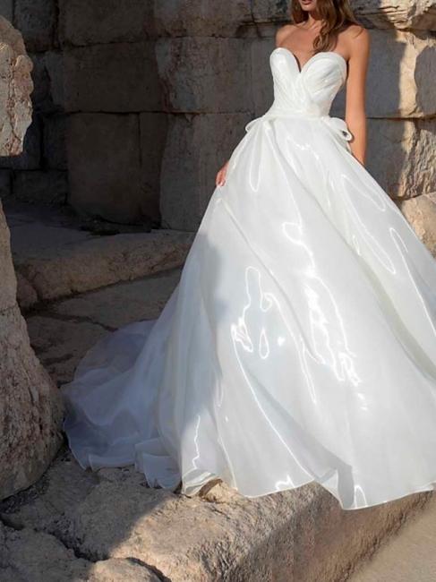 Wedding Dresses Plain Online | Organza wedding dresses A line