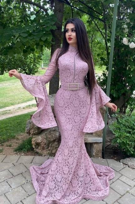 Abendkleider Lang Rosa | Spitze Abiballkleider mit Ärmel
