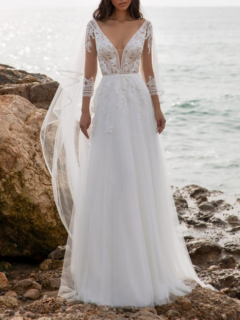 Fashion wedding dresses with sleeves | Sheath dresses wedding dresses with lace