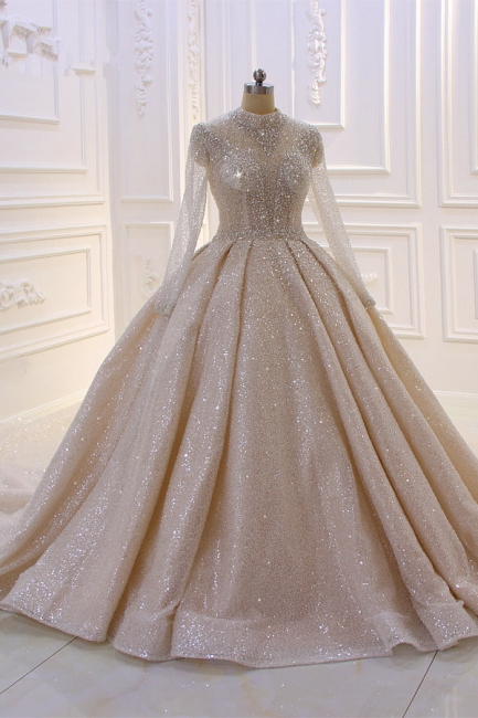 Hochzeitskleider Prinzessin Glitzer | Brautkleider mit Ärmel
