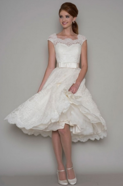 Modern wedding dresses short | A line wedding dresses with lace