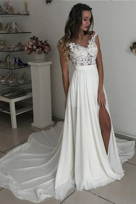Simple wedding dress with lace | Chiffon summer wedding dresses cheap