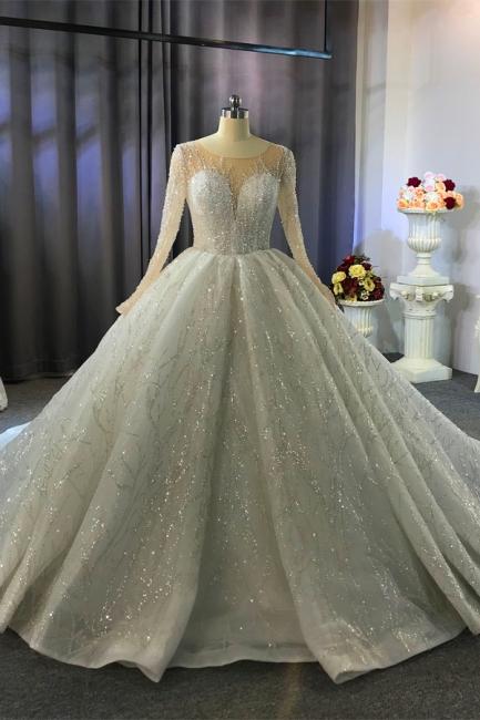 Extravagant wedding dresses princess   Wedding dresses glitter with sleeves
