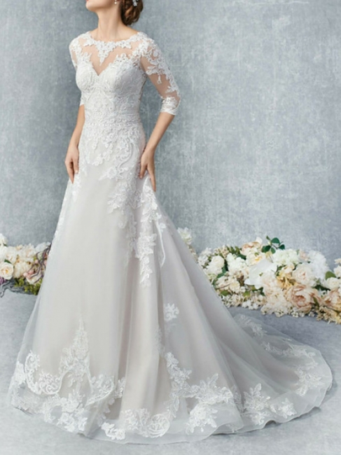 Vintage Brautkleider A Linie | Hochzeitskleid Spitzelärmel