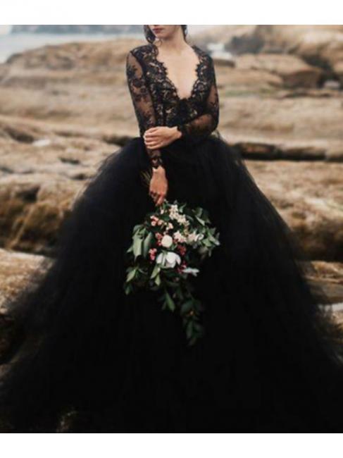 Schwarze Hochzeitskleider mit Ärmel | Spitze Brautkleid Online