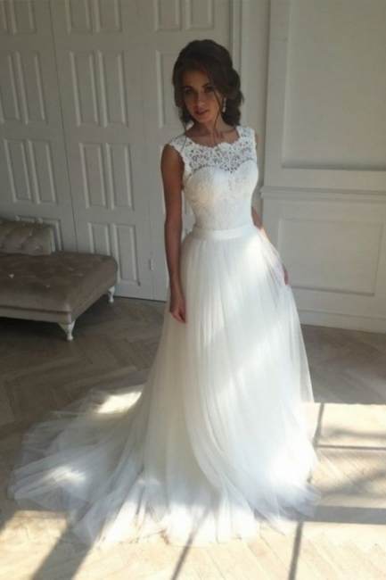 Elegant wedding dresses white with lace tulle sheath dresses bridal gowns cheap to moderate