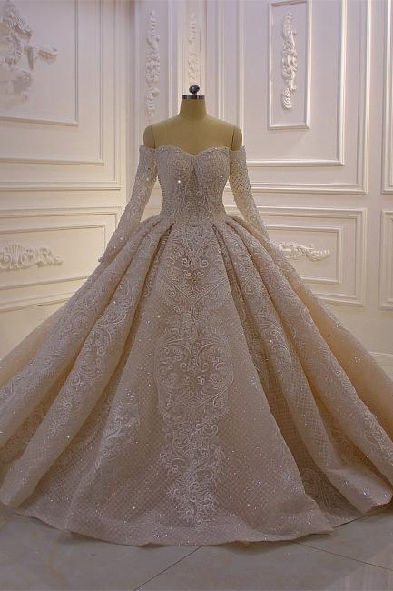Luxury wedding dresses princess lace | Wedding dresses with sleeves