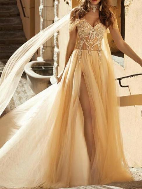 Wunderschöne Brautkleider Mit Spitze | Etuikleider Hochzeitsmoden Günstig