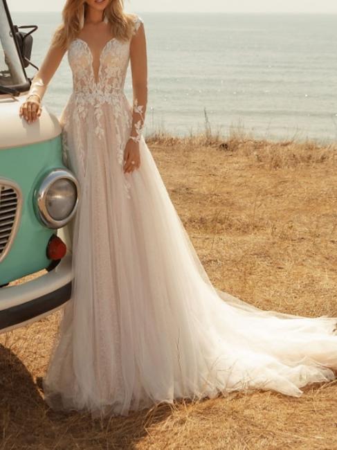 Fashion Brautkleider mit Ärmel | Spitze Hochzeitskleider A Linie