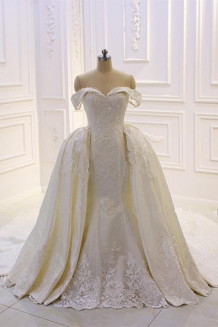 Schöne Hochzeitskleider A Linie Spitze | Brautkleider Cream