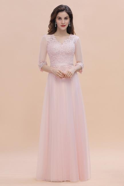 Elegant bridesmaid dresses long pink | Simple evening dress chiffon