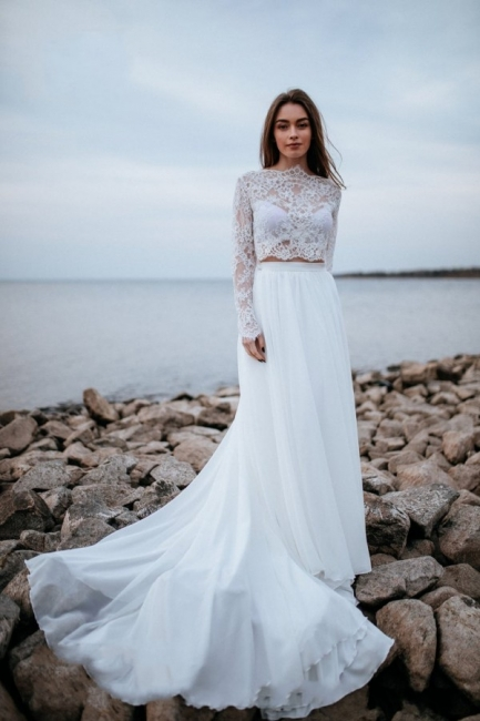 Designer wedding dresses with sleeves | Chiffon bridal wear with lace