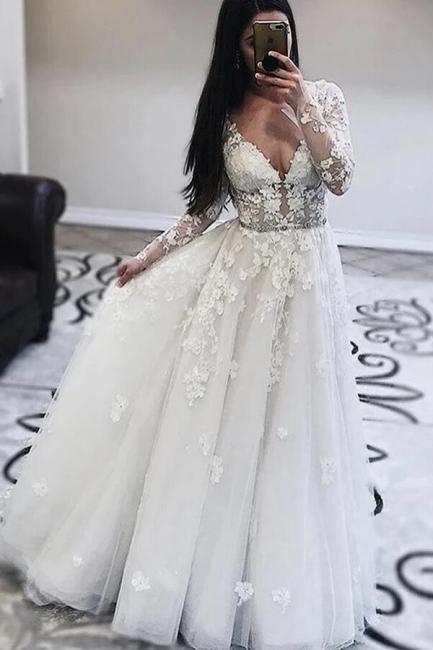 Wedding dresses V neckline | Lace wedding dresses with sleeves
