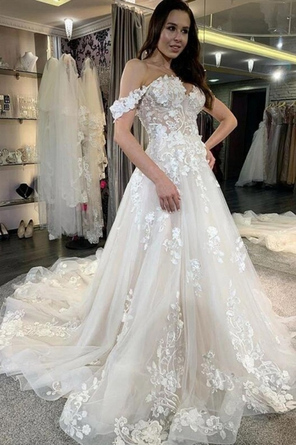 Elegante Brautkleid A linie | Schöne Hochzeitskleider mit Spitze