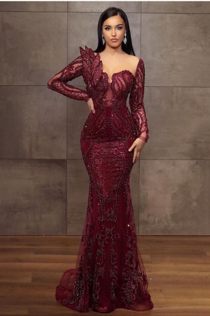 Wine red evening dresses long glitter | Prom dresses with lace sleeves
