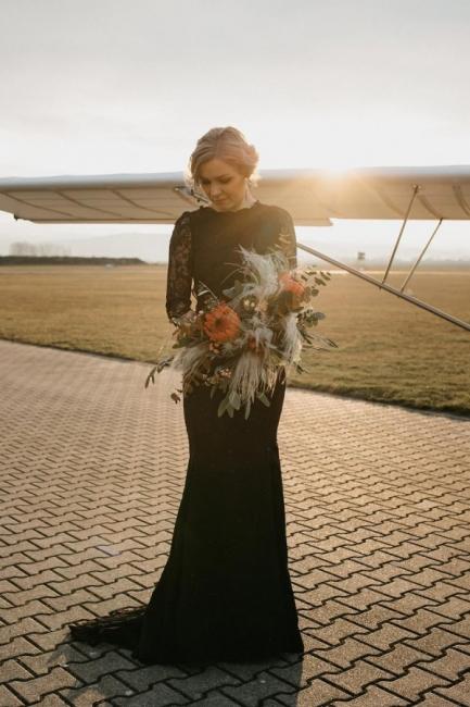 Gothic Brautkleider Schwarz | Meerjungfrau Hochzeitskleid mit Ärmel