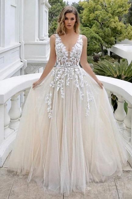 Wedding dress A line V neckline | Beautiful wedding dresses with lace