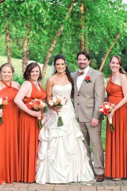 Orange Brautjungfernkleider Lang | Günstige Kleider zur Hochzeit