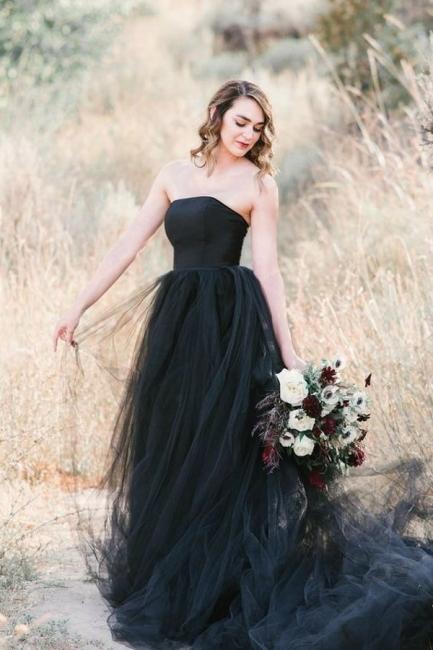 Schwarze Brautkleid Schlicht | Tüll Hochzeitskleid Online