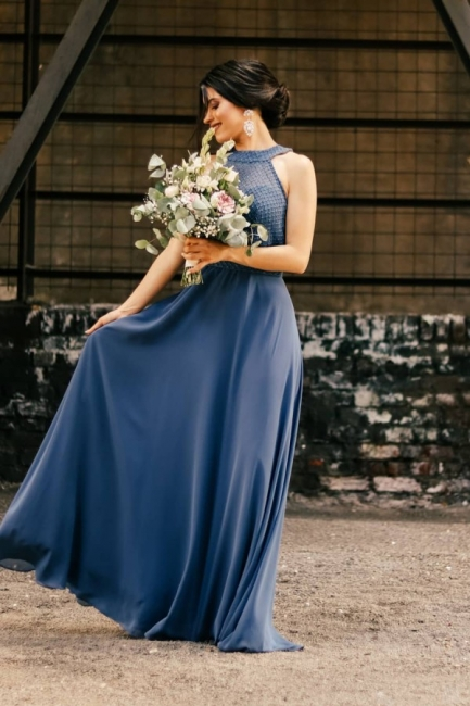 Schöne Brautjungfernkleider Lang Chiffon | Blaue Kleider Brautjungfern