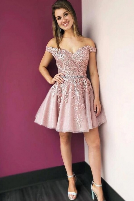 Beautiful evening dress short | Pink cocktail dresses with lace