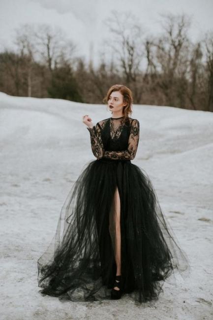 Elegante Brautkleider mit Spitze Ärmel | Hochzeitskleider Schwarz