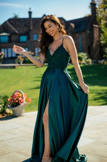 Simple evening dresses green | Prom dresses long cheap