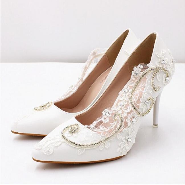 Brautschuhe Weiß Glitzer | Hochzeitsschuhe Spitze