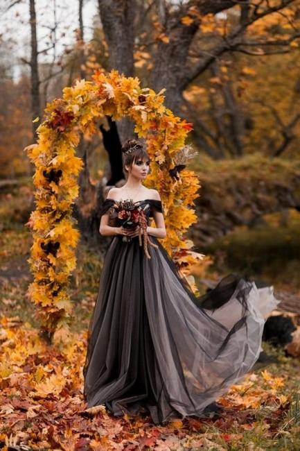 Simple wedding dresses black | Tulle wedding dresses A line