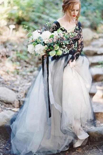 Beautiful wedding dresses black | Lace wedding dress with sleeves